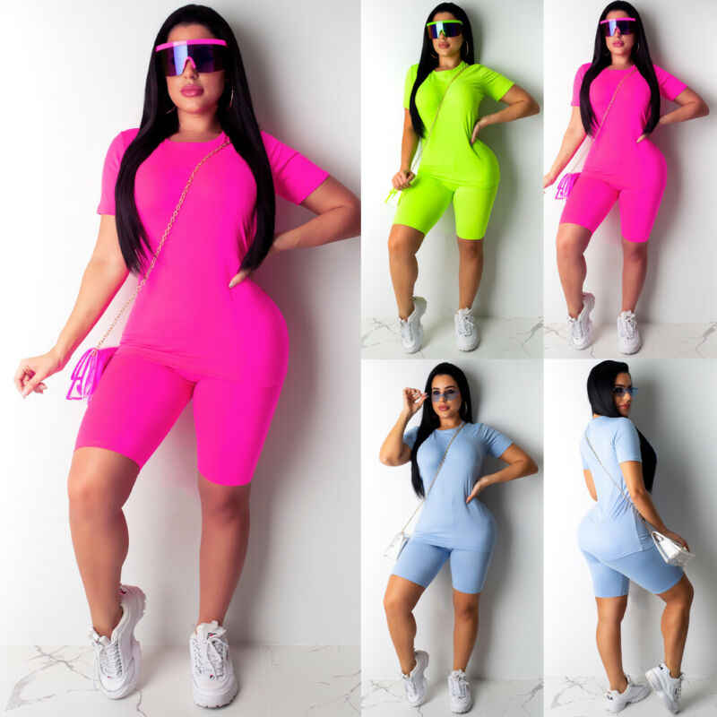 Womens Zomer Korte Mouw Print Bodycon Outfits Dames Avond Party Club Slim Fit Tops T-shirt Broek Shorts 2 Stuks set