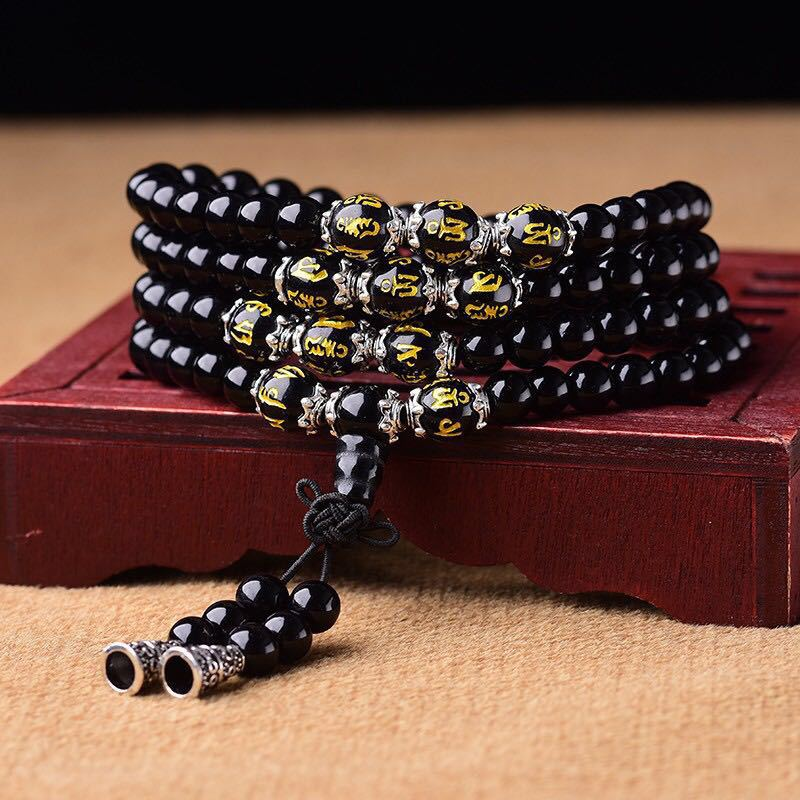 Consecrated Obsidian Bracelet 108 Beads Multi-Circle Six-Character Mantra Tiger Eye Stone Men And Women Couple Jewelry Present