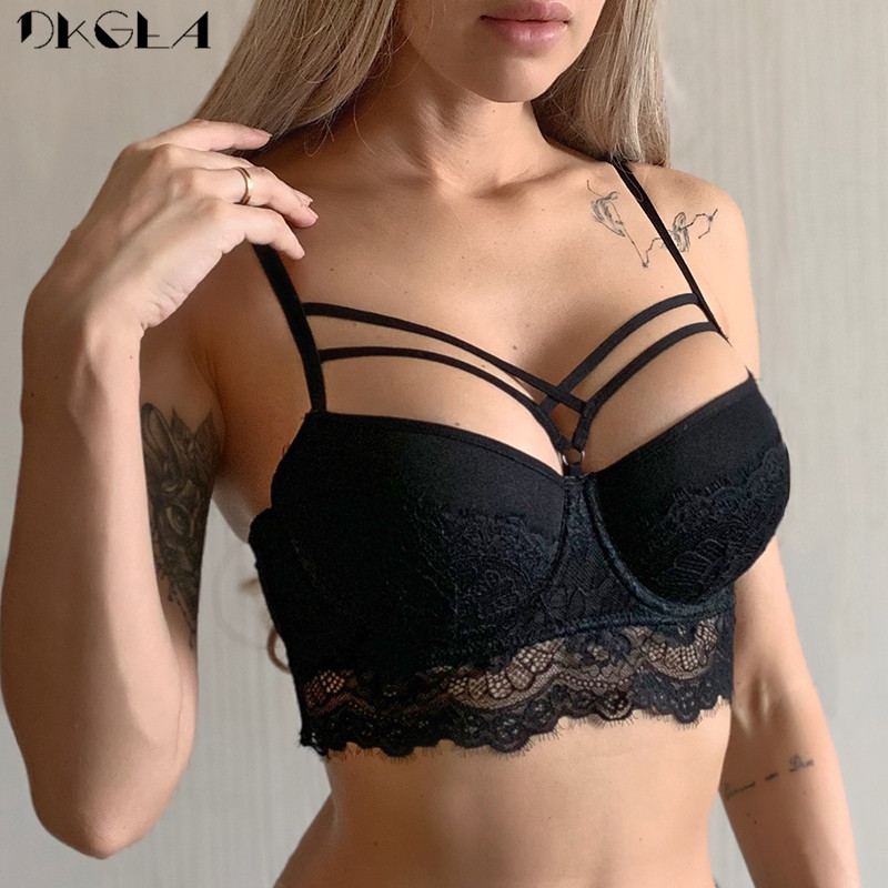 Classic Black Sexy Bra Push Up Brassiere Lace Bandage Embroidery Lingerie Women Thick Gather Underwear Cotton Bras A B C Cup