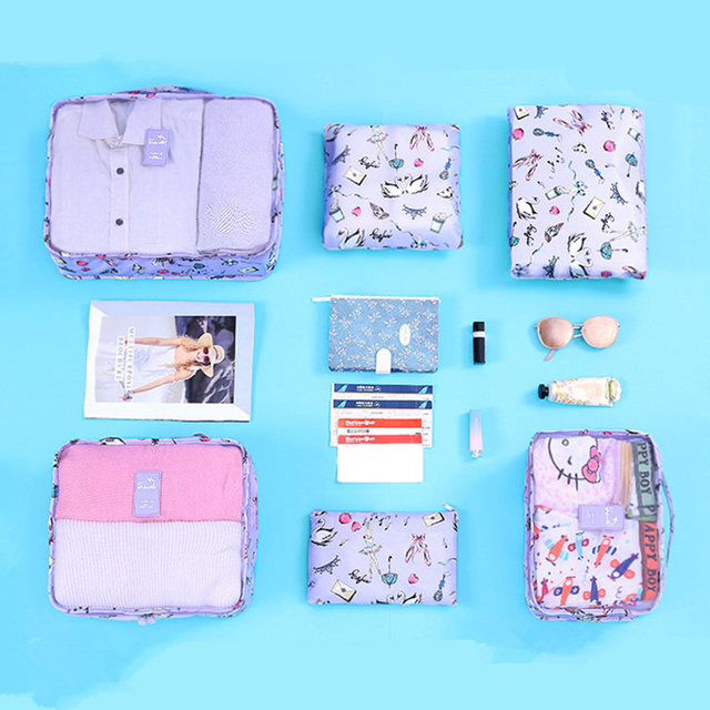 6piece/set travel mesh bag in bag luggage organizer packing cube set for clothing suitcase storage cosmetic tidy pouch