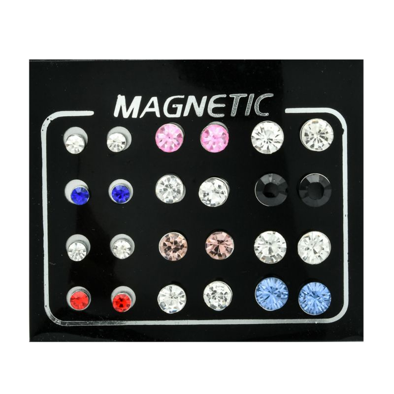 12 Pairs Non Pierced Rhinestone Magnetic Stud Earrings Clip-on Earrings Jewelry T4MD