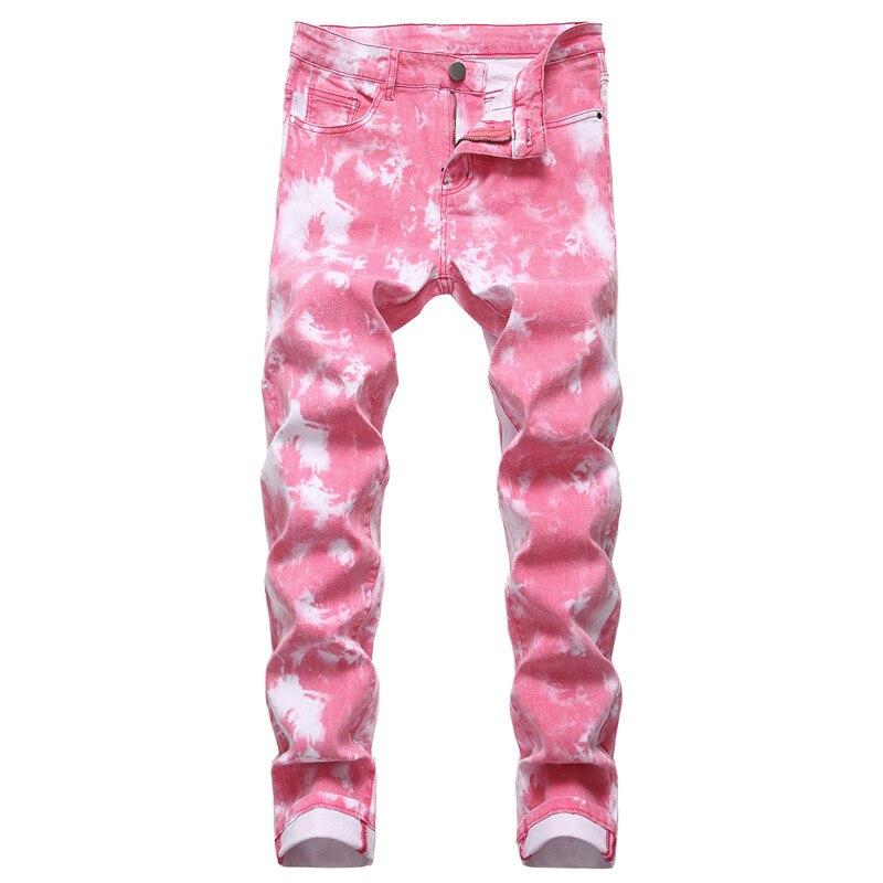 Hip Hop Jeans Men Streetwear Pink Pants Slim Trousers Youth New Casual Trend Jeans Mens Biker Jean Pantalon Full Length