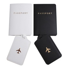 2020 New 2pcs/set Black White Passport Cover&Luggage Tag PU Leather For Travel Accessories Case Label Tag Passport Holder