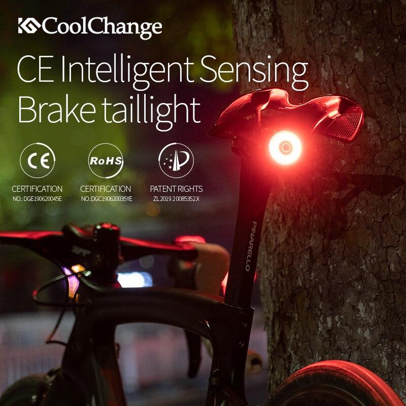 CoolChange Bike Smart Light Brake Sensor Intelligent Cycling Lamp MTB Taillight Road Bike Accessories Night Riding Bicycle Light