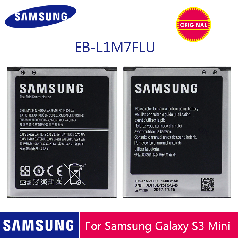 SAMSUNG Original EB-L1M7FLU Phone Battery 1500mAh For Samsung Galaxy S3 Mini S3Mini GT-I8190 I8190 I8190N GT-i8200 i8200 image