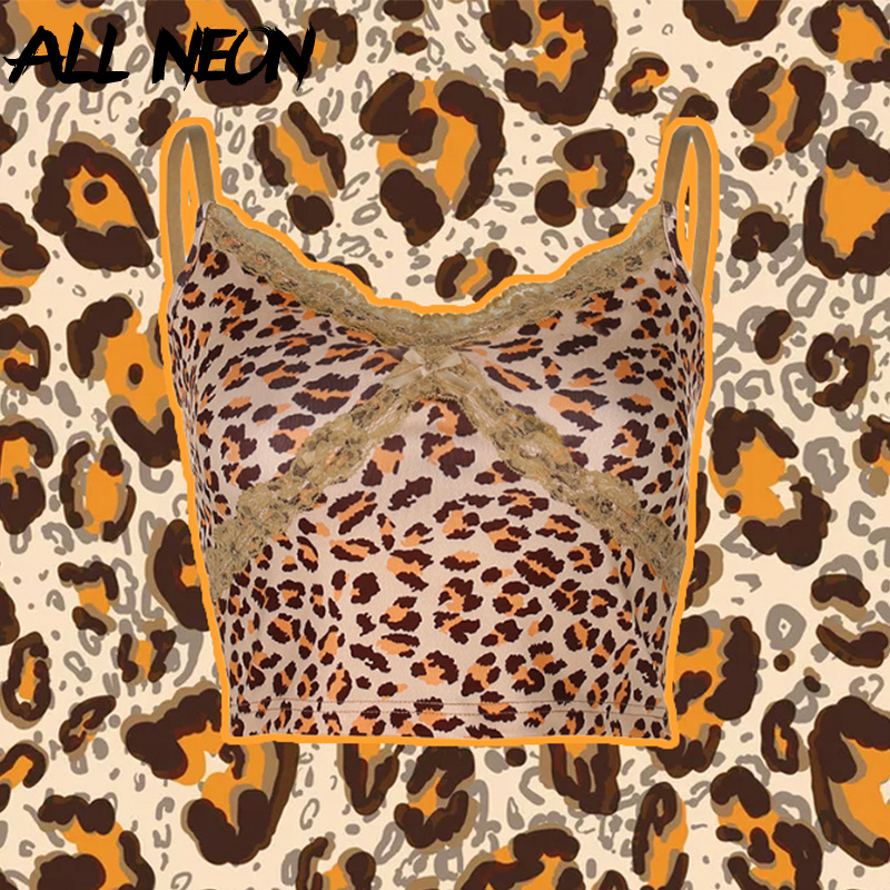 ALLNeon Y2K E girl Leopard Criss cross Lace Front Camis Tops Punk Style Fashion Summer Backless