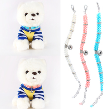 Fashion Pet Puppy Dog Cat Piggy Double Row Pearl Necklace WIth Bell Pendant Dogs Collar Jewelry Ornament Accessories D40