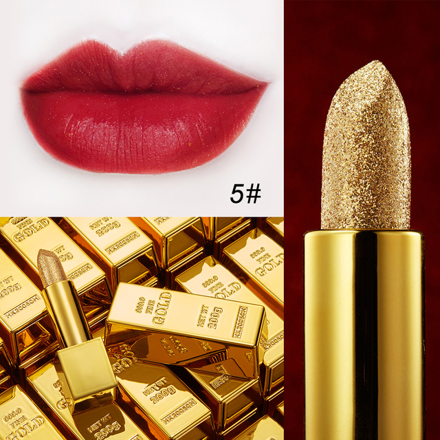 Glitter Lipstick Moisturizing Makeup Velvet Matte Gold Lipstick Waterproof Lipstains Sexy Shiny Red Cosmetics Pigment Nude Rouge 2