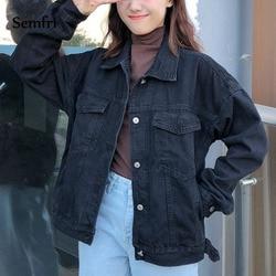 Semfri kobiet czarny kurtka dżinsowa jesień zima płaszcz czarny jeansowa kurtka Casual Harajuku Streetwear kobiety koreański ubrania 2019 2