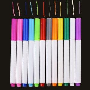 Image 1 - 12 pièces/ensemble différentes couleurs hydrosoluble liquide craie enfants dessin stylo Non poussière tableau craie marqueur bureau fournitures scolaires