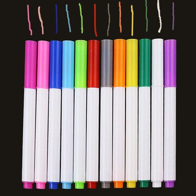12 pièces/ensemble différentes couleurs hydrosoluble liquide craie enfants dessin stylo Non poussière tableau craie marqueur bureau fournitures scolaires