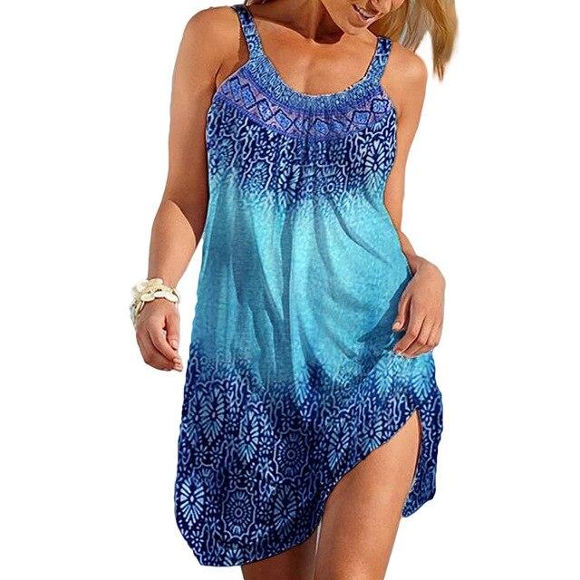 3XL Summer Dresses Women 2021 Beach Style Casual Loose Plus Size Dress Ladies Print Sexy Strap Short Dress 6
