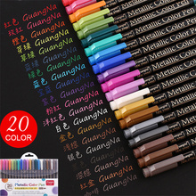 2mm Stationery Metallic-Pen Water-Based School-Supplies Drawing Brown Black 12-Colors/Lot