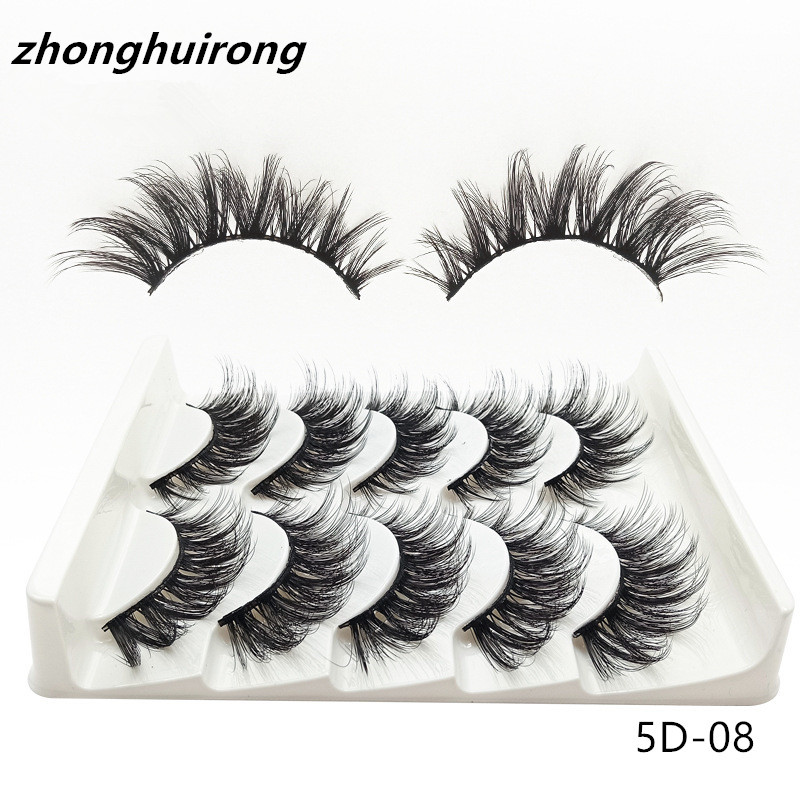 5 Pairs Of Eyelashes 5D Mink  Eyelashes Thick False Eyelashes Eyelashes Natural Long False Eyelashes Eye Makeup Tools