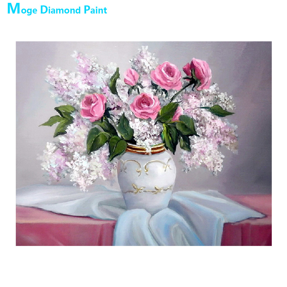 desktop vase Moge Diamond Painting Full Round violet floral New DIY sticking drill cross embroidery 5D simple home decorative