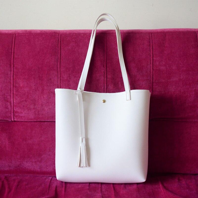 Women Handbag Leather White Shoulder Bag Big Female Tassel Bags Designer High Quality Shoulder Bags Large Capacity Handbag Woman