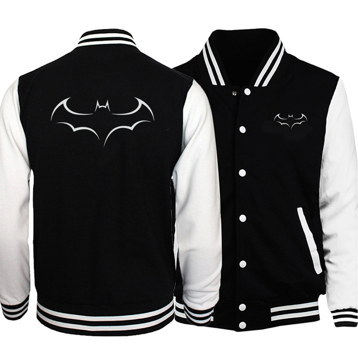 Fashion Batman Double-side Print Baseball Jackets Men Uniform Big Size Fleece Sweatshirt 2020 Fall Winter Long-sleeved Jackets