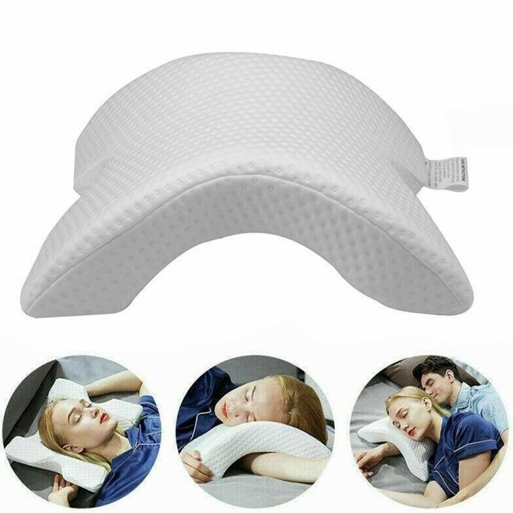 Arm Cuddling Curved Memory Foam Pillow Detachable Slow Rebound Tunnel Shaped THD