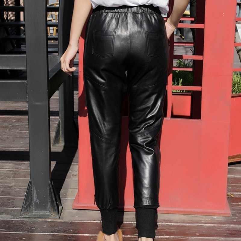 Outono inverno das mulheres de couro genuíno com nervuras retalhos harem calças cintura elástica casual pele carneiro tornozelo comprimento calças mais tamanho