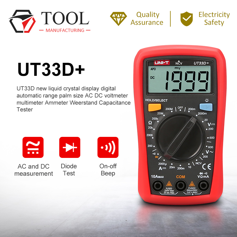 UNI T UT33D+ New LCD display Digital Auto Range Palm Size AC DC Voltmeter multimeter Amperemeter Weerstand Capatitance Tester|Multimeters|   - AliExpress