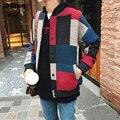 JDDTON Herbst Männer Fliegen Anzug Stil Pullover Mann Streetwear Splice Gestrickte Casual Woolen Plaid Bomber Pullover Männliche Kleidung JE166