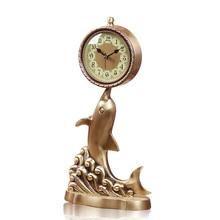 2017 Meijswxj Saat uchwyt zegar Reloj Relogio czystej miedzi tabeli zegar stołowy zegar metalowe lampki nocne wyciszenie salon zegary kwarcowe 40*20*13cm tanie tanio GEOMETRIC Igła QUARTZ Stoper Europa Funkcja drzemki KQ2620 400mm 200mm Bambusowe i drewniane Antique style 130mm Zegary biurkowe