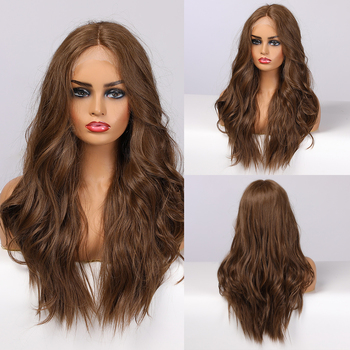 EASIHAIR Brown Lace Front Wig Synthetic Hair Long Wavy Wigs for Women Natural High Density Heat Resistant Cosplay - discount item  45% OFF Synthetic Hair