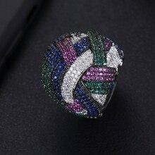 LARRAURI Dubai Naija Bridal Finger Rings For Women Jewelry Luxury Twist Lines Geometry Wide Cubic Zirconia Rings Engagement цена и фото