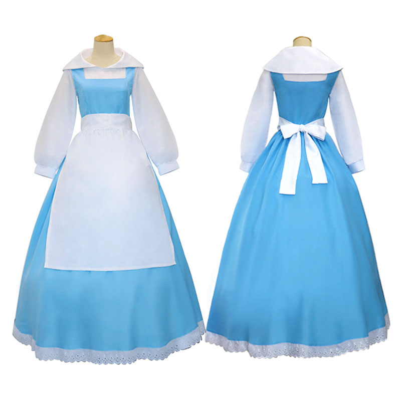 DMCOS Blue Maid Dress Cosplay Girl Disney Princess Beauty and Beast Anime Characte Belle Bell Costume Festival COS