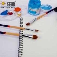 Oil Painting Brush Acrylic Painting Brush 7#-12# Gouache Brush Weasel Hair Wood Stick(30pcs)
