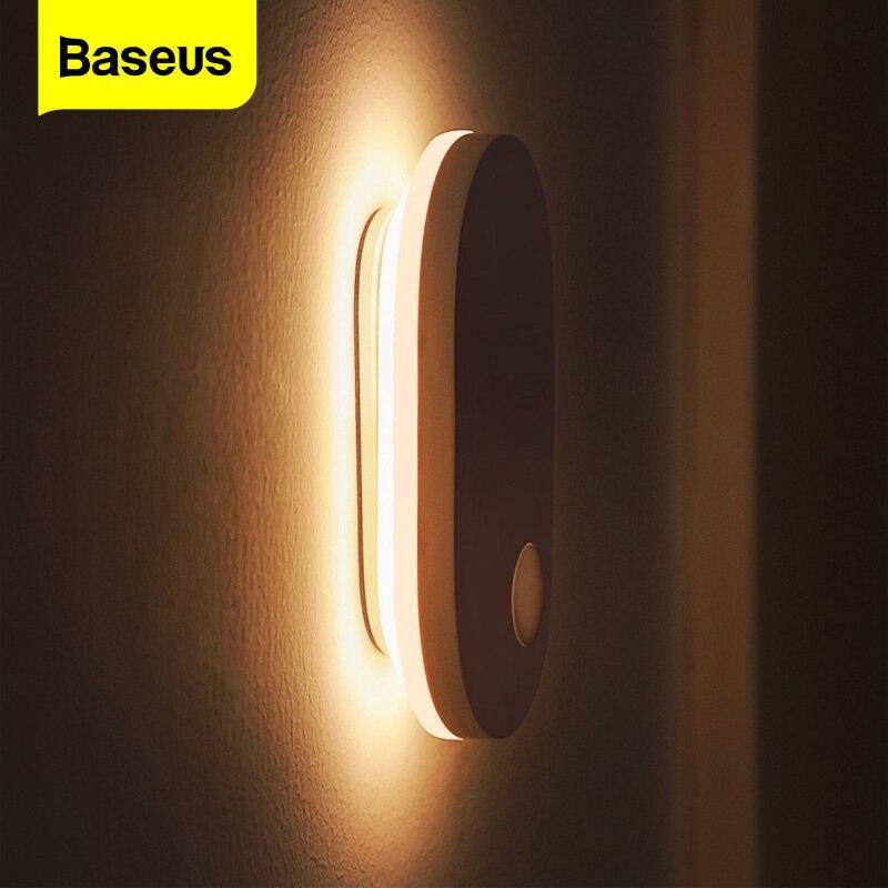 Baseus Новинка Светодиодный Ночной светильник движения PIR Сенсор светильник USB Перезаряжаемые прикроватный настенный светильник умный дом дл...