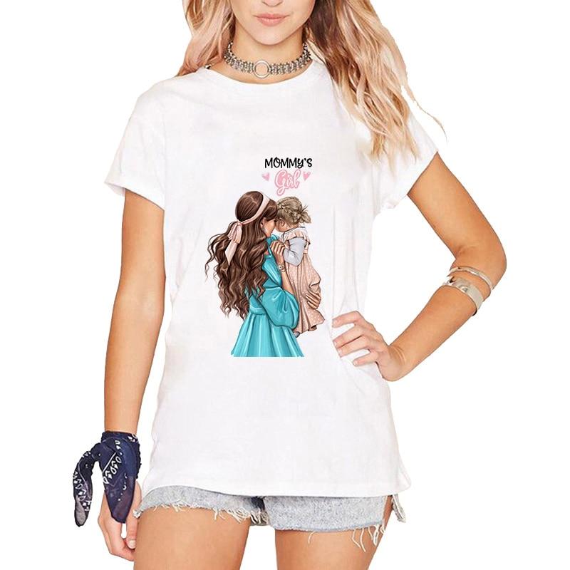 Super Mom T Shirt Women Mother Daughter Outfits T Shirt Mom Mum Vogue Boy Girls Tshirts Tops Gift For Women