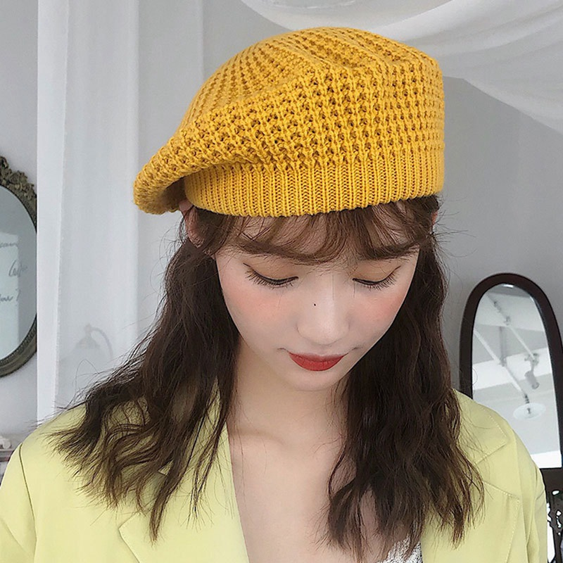 Autumn Winter Knitted Beret Female Japanese Soft Sister Cute British Hats Painter Sweet Color Caps Black Green Yellow New