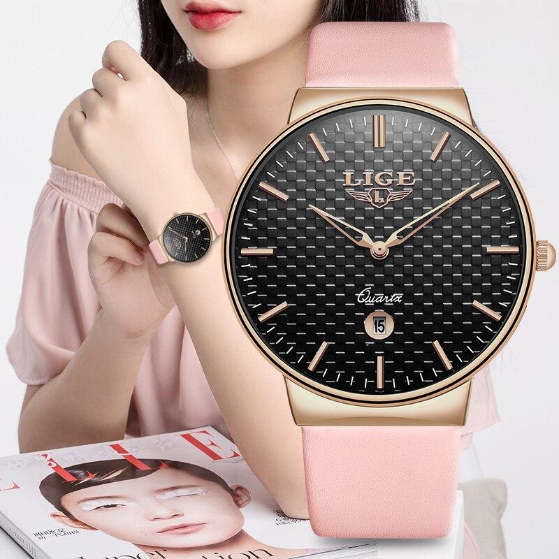 Relogio feminino LIGE Womens Watches Top Luxury Leather Watch Women simple casual Quartz Watch Waterproof Clock Reloj Mujer+Box