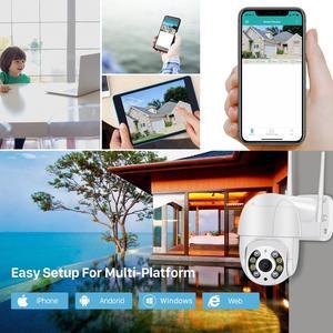 Image 5 - Câmera de vigilância externa IP WiFi, CCTV 1080P HD 3MP 4X Zoom PTZ, luz IR, com áudio e cores, detecção IA com alerta de segurança