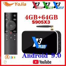 X3 PRO Amlogic S905X3ทีวีกล่องAndroid 9.0 TV BOX X3 CUBE 4GB RAM 64GB ROMชุดTopกล่อง2.4G/5G WiFi 1000M 4K X3 PLUS Media Player