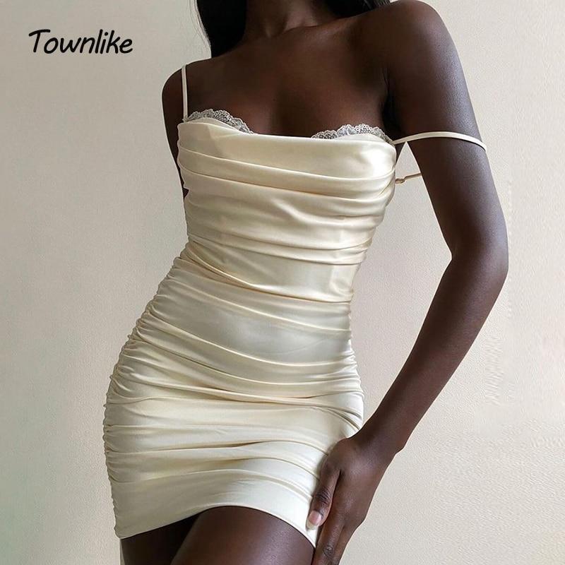 Townlike Lace Side Drawstring Bandage Dress Elastic Sling Short Slim Mini Summer Dress 2021 Double Layer Sexy Party Dresses