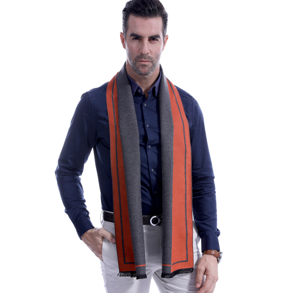 Sparsil Winter Men Cashmere Scarf Patchwork Gentlemen Blanket Long Scarves Casual Business Thick Warm Scarf For Male Dad