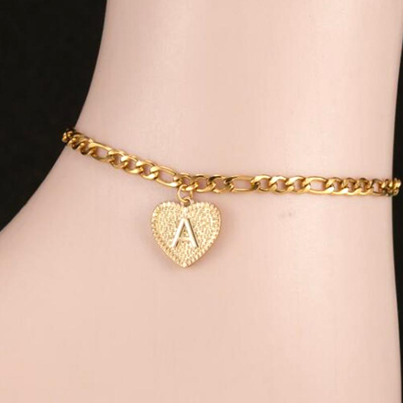 anklets for women anklet initial anklet bracelet for women Gold letter stainless steel foot chain heart shaped Jewellery women