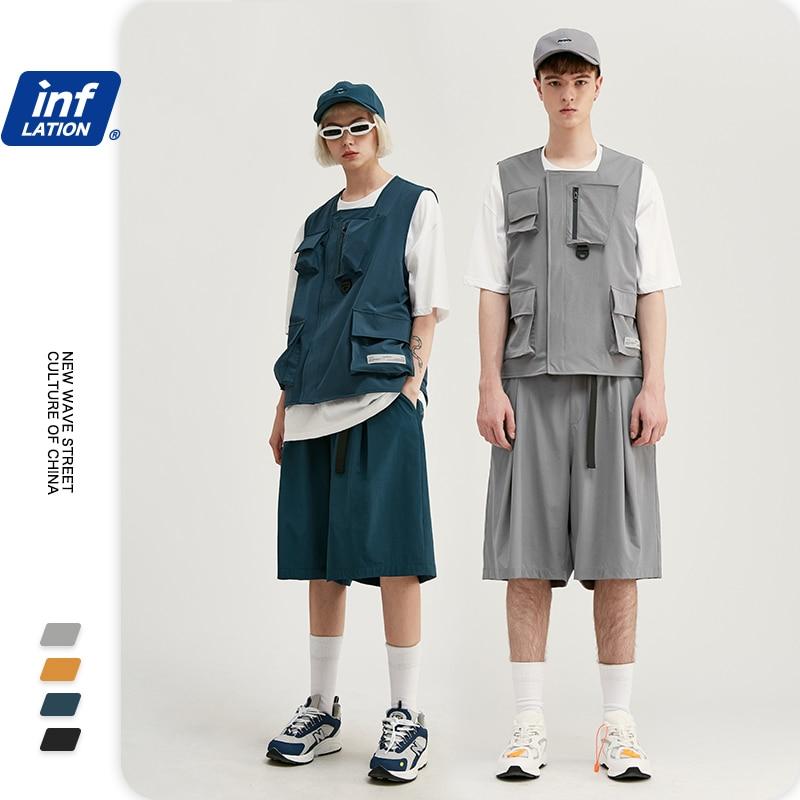 INFLATION Men Streetwear Jersey Utility Gilet In Grey & Streetwear Style  Men Shorter Shorts With Elastic Waist  In Loose Fit