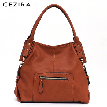 CEZIRA Brand Fashion Vegan Leather Women Shoulder Bags Female Casual Hobos Ladies Large PU Zip Pocket Tote Handbag Messenger Bag