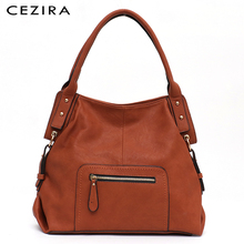 CEZIRA Brand Fashion Vegan Leather Women Shoulder Bags Ladies Large PU Casual Hobos Zip Pocket Tote Female Messenger Handbag Sac