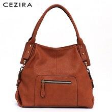 CEZIRA marka moda Vegan deri kadın omuz çantaları bayanlar büyük PU rahat Hobos Zip cep Tote kadın postacı çantası kese