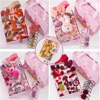 24 pieces / set of children's hair accessories crown cartoon animal hairpin girl flower hairpin star pom-pom hair band gift