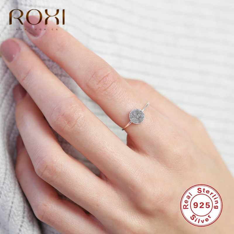 ROXI Vintage Fingerprint Rings For Women Minimalist Jewelry Custom Wedding Rings Genuine 925 Sterling Silver Rings Promise Gifts