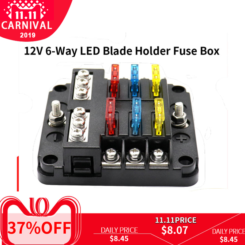 Automotive 12V 6 Way  LED Blade Holder Fuse Box Block Case with Negative-in Fuses from Automobiles & Motorcycles