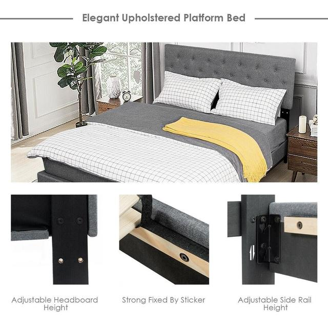 Queen Size Upholstered Panel Bed  2