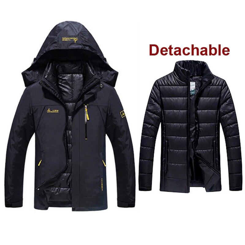Hombre invierno impermeable peces Trekking senderismo campamento esquí subir cálido de talla grande 3 en 1 algodón al aire libre chaquetas Softshell pantalones traje - 2