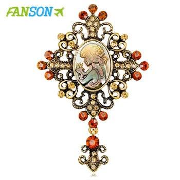 FANSON kryształ Rhinestone Lady Vintage Cameo wiktoriański styl wesele kobiety wisiorek broszka Pin
