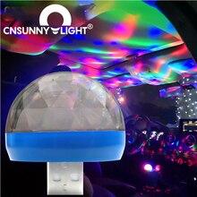 CNSUNNYLIGHT LED רכב USB אווירה אור DJ RGB מיני צבעוני מוסיקה צליל מנורת USB C טלפון משטח עבור פסטיבל מסיבת קריוקי